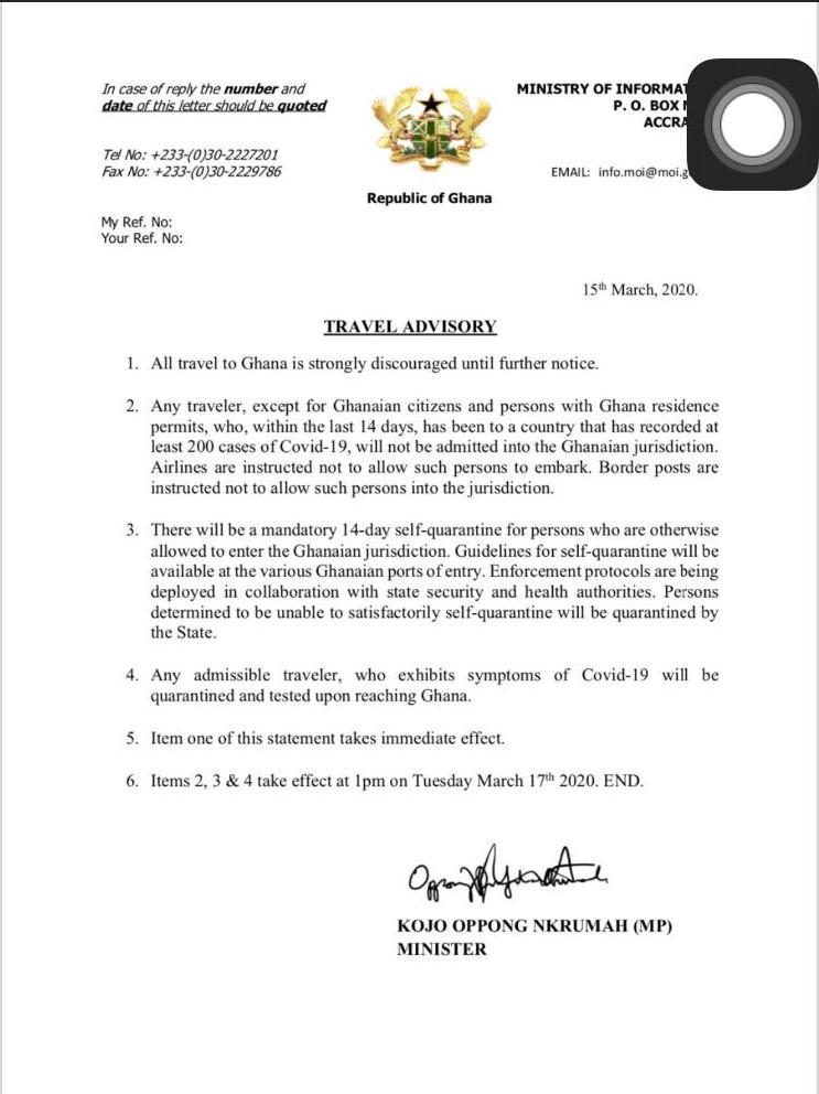 Coronabrief Ghana Ministerie
